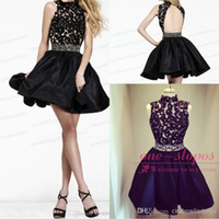 Cheap 2014 Cheap Illusion High Neck Lace Appliques Sexy Homecoming Dresses Beaded Belt Short Mini Little Black Dresses Cocktail Gowns CPS066