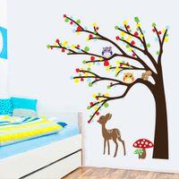 Wholesale DIY Wall Sticke Kid s Child Room Decal Wallpaper Cartoon Cute Animal Deer Owl Tree Mushroom Stickers Art Mural Decor H11571