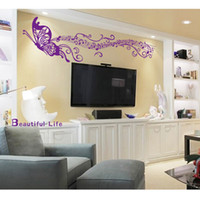 romantic home decorations - DIY Home Decoration Romantic Butterfly Musical Notes Purple Wall Sticke Art Decor Mural Decal Rooms Sticker Wallpaper Stickers H11523