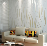 Wholesale Flock Printing Wallpaper D Stripe Embossed Non woven Murals Papel De Parede Roll Living Room Bedroom Wall Paper