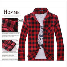 Wholesale Hot sold new summer autumn fashion red and white plaid shirt male long sleeve slim men shirt fashion shirt male autumn clothing