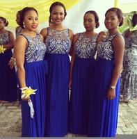 Cheap 2015 New Custom Made Bridesmaid Dresses,Royal Blue Chiffon Sheer Neck Vestidos Arabic Blink Sequins Column Wedding Party Dresses