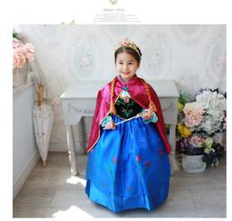 Wholesale Nouvelle de Noël Frozen gros princesse Elsa anna courte de fête d anniversaire de la dentelle à manches Baby Girl Robes enfants Tutu cape WL