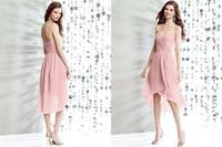 La nueva dama de honor formal del estilo 2014 plisó A - la línea los vestidos altos bajos S153 del partido de graduación de la gasa de la parte posterior de la cremallera del cuello del amor de la cremallera