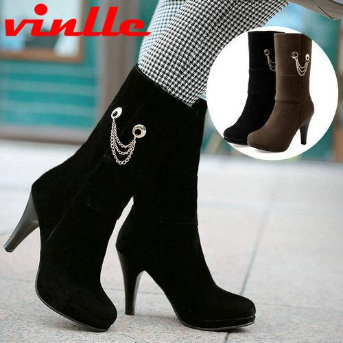 Vinlle 2015 Fashion Winter Mid Calf Boots High Heels Women ...