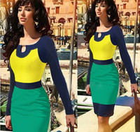 Wholesale Show Bandage Dresses - 2014 Women's Dress Yellow, Blue, Green Three Color Stitching Temperament Package Hip Pencil Dress Fashion Bandage Dress As Picture Shown