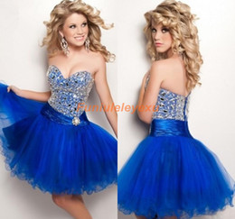 2015 Sweet Royal Blue Sweetheart Sleeveless Ball Gown Organza Crystal Homecoming Dress Short Mini Prom Party Cocktail Grade Graduation Dress