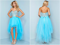 Cheap Aqua Hi-Low Tulle Beaded Bodice Prom dress Sweetheart Empire Sleeveless Evening Party Pageant Skirt Sleeveless Lace-up Sequin Custom LH329