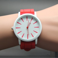 Wholesale 2014 New Christmas gift colors women men Genneva watch Silicone Rubber Hollow out needle Wristwatches jelly candy Quartz watches