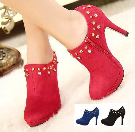 Diamond Rhinestone Wedding Dress Shoes Red Suede Sexy Ankle Boots ...