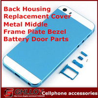 Wholesale Back Housing Replacement Cover For Apple iPhone S Metal Middle Frame Plate Bezel Battery Door Parts Colors UP