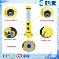 5 en 1 multifunción coche LED linterna seguridad martillo escape de emergencia de la herramienta, M