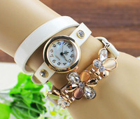 Wholesale New Arrival Quartz Watch Women Punk Gold Plated Crystal Flowers Wristwatch Synthetic Leather Bracelet Watches