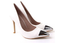 Cheap Cheap 2014 Autumn white women's shoes Leather high heels shoes metal point Fine with sexy female single super ladies women shoes