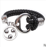 men jewelry accessory - new arrival Men black snake woven alloy bracelet flame round fashion jewelry accessories