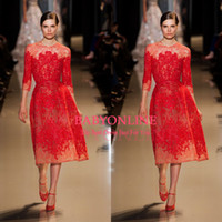 Wholesale Elie Saab Sexy A line Tea Length Wedding Dresses Jewel Neck Long Sleeves Prom Gowns Appliques Tulle Beads Red Lace Party Dresses BO3343