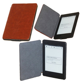 Wholesale 1pc Crazy Horse lines pu leather case for Kindle paperwhite inch Ebook slim smart cover case for kindle paperwhite quot Ereader free ship CN
