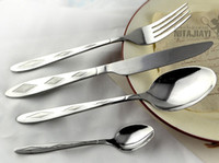 Wholesale Silver plated top quality stainless steel cutlery tableware piece per set spoon knife and fork set