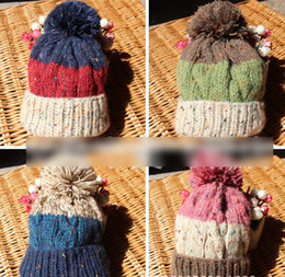 Wholesale High Quality Autumn Winter Children Boys Girls Cute Hat Knitted Baby Stars Pattern Thicken Knitting Caps Warm Accessories J1241
