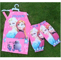 Wholesale 2 colors New Frozen Aprons Sanitary Waterproof aprons Frozen Paiting Children Cover Up with sleeves cover frozenc278 sets