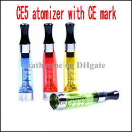 Wholesale CE5 Clearomizer with CE trash mark mark and ROHS certification E cigarettes ml hot sellling various colors instock