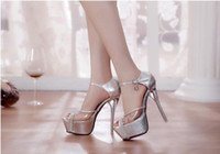 Wholesale 2014 new design shoes follow sandal high heeled sequins shoes buckle crystal with waterproof wedding shoes evening party dress women shoes