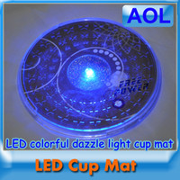 Wholesale Bars dedicated waterproof LED flashing Coasters black circular colorful changed cup mat Gatherings supplies