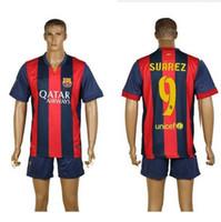 Wholesale 2014 Barcelona Home Soccer Sets LUIS SUAREZ MESSI Neymar JR Pupular Players Football Uniforms Spain LA Liga Club Soccer Wears