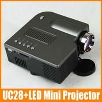 LCD mini projector - 1 piece UC28 LED Mini Portable Home Theater Cinema Projector PC Laptop VGA USB SD AV input Black White