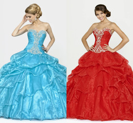 Wholesale New Princess Plus Size Crystal Beaded Sweetheart Ruffles Ball Gown Lace up Organza Colorful Ice Blue Of Quinceanera Dresses DL1313155