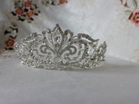 Cheap 100% Real Image Vintage Silver Clear Rhinestones Crystals Bridal Tiaras Bridal Crown Wedding Accessories Pageant Hair Decoration 1624
