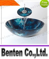 glass sink - Bathroom tempered Glass Vessel Vanity print color Sink bowl with faucet LLFA67036