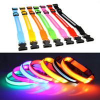 Wholesale Adjustable Flashing LED Dog Collars Stripe Nylon Night Glow Safety Leashes Light up in the Dark For Pet Dogs Colors UPS Free Factory Price