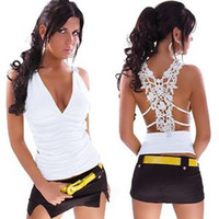Wholesale Sexy Ladies T Shirt Lace Open Back Butterfly Strip Disco Vest TOP DH04