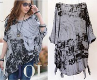 cotton polyester shirts - NEW Womens Cotton Polyester Gray BAT Shirt TOP OFF Shoulder Plus Size DH04