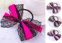 Wholesale Women Pretty Ribbon Bow Hair Tie Rope Hair Band Scrunchie Ponytail Holder Hot