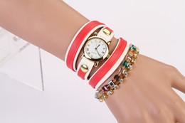 Wholesale 2014 New Fashion Acrylic Crystal Leather Wristband Wrap Around Bracelet Watch Bracelets Women s Quartz Wristwatches Hort Sale
