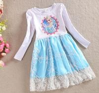 Children Girls Autumn Princess Dress Frozen Elsa Anna Long S...