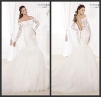 Cheap 2015 Tarik Ediz Famous Brand Simple Elegant Long Sleeve Mermaid Lush Fish Tail Backless Bridal Dresses with Appliques Wedding Bridal Gowns