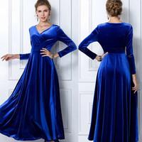 Wholesale 2014 autumn plus size clothing fashion velvet V neck long big swing floor length gold velvet full dress one piece dress