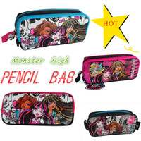 Cheap Wholesale-OP-Hot selling 2014 Monster High Pencil case Bag Red NEW Children Girl's Cartoon Fashion Pencil Bag High Quality Free Shipping