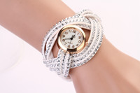 Wholesale New Arrival Fashion Women s Crystal Velvet Leather Braided Quartz Watches Wristwatches Exquisite Gift Color