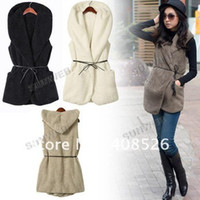 Wholesale Fashion Womens Ladies Hoodie Faux Lamb Fur Long Vest sleeveless Jacket Coat With Hat colors