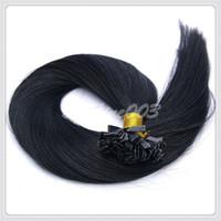 Cheap 6A Grade 100% Keratin Peruvian Human Virgin Remy Hair Flat-Tip Hair Extension #1 Jet Black Pre-bonded Hair 1g strand 300g lot