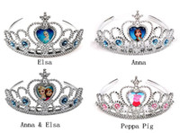 Wholesale New Arrival Frozen Anna Elsa Princess Peppa pig Tiara Crown Hair Band For Children Girl Mix Models
