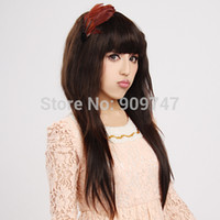 Dark Brown Curly Synthetic Hair Free shipping COLORONE Capless Long Curly Brown High Quality Synthetic Wig Full flat Bangs wigs