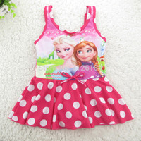 Wholesale 2014 New Arrived Frozen Elsa Anna Grils Swimwear One Piece Children Kids Swimsuit Bathing Suit Beach Dress