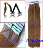 2015 Nouveau ruban péruvien vierge de cheveux dans les extensions de cheveux humains remy 40 pièces droites 18''20''22''24''inch Livraison gratuite