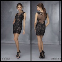 adorn charms - 2014 New Arrival Sheath Lace Homecoming Dresses With Beading Adorn Sexy Sheer Illusion Back Charming Style Women s Clothing