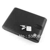 Cheap Biometric Fingerprint Safe Box Key Gun Vault Jewelry Box Cable Portable Bio-box Freeshipping